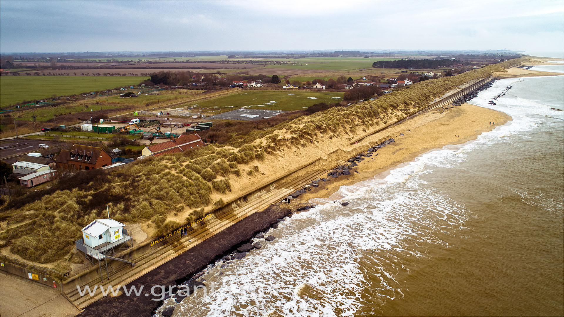 Drone photo of Sea Palling beach, in Norfolk following heavy spring storms in 2018