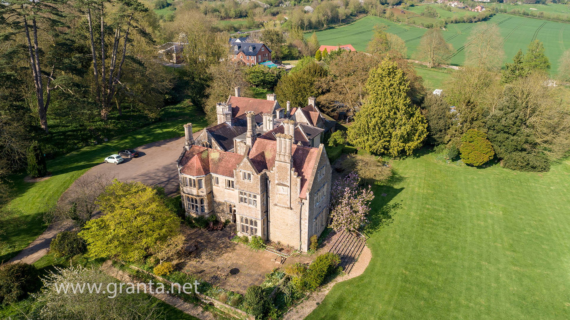 Aerial shot of Cleeve House, near Seend, Wiltshire