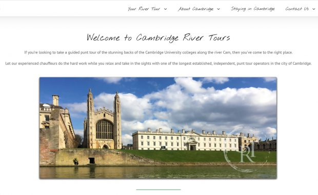 Cambridge River Tours website homepage