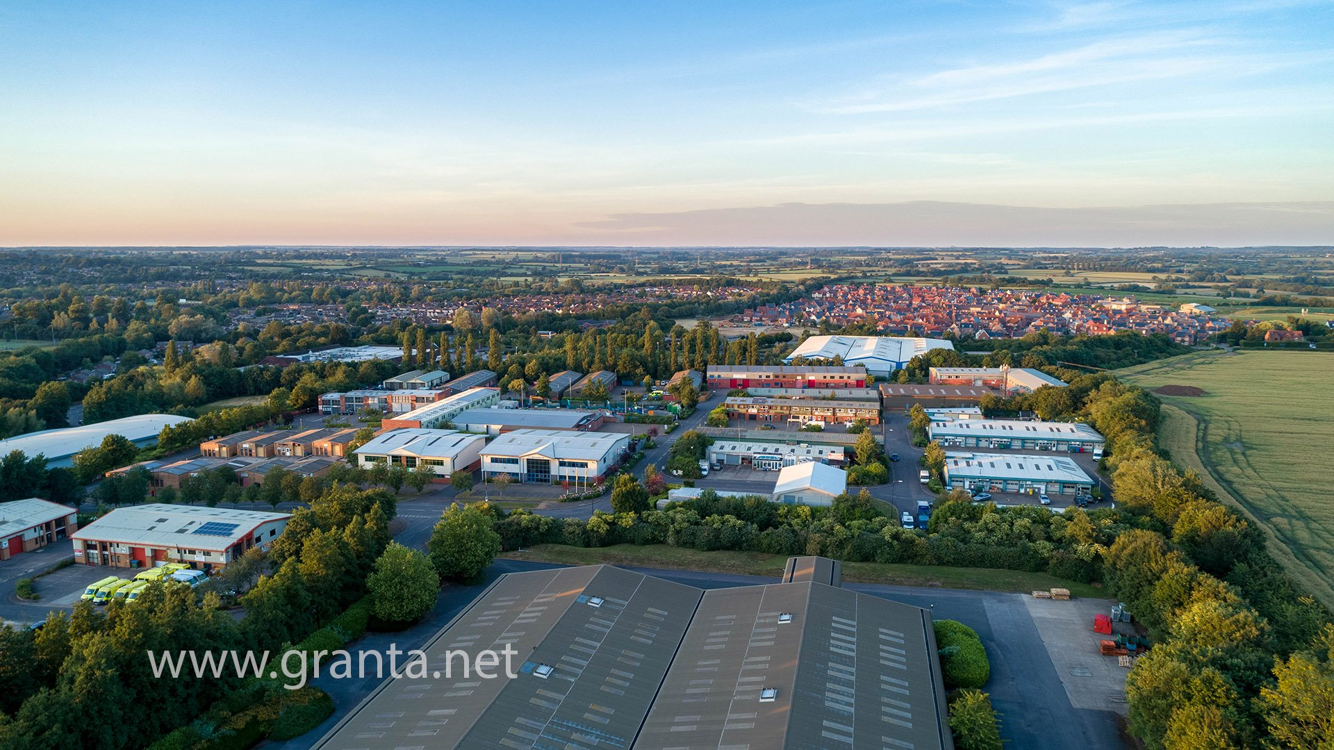 Drone photo of Buckingham industrial estate at sunset