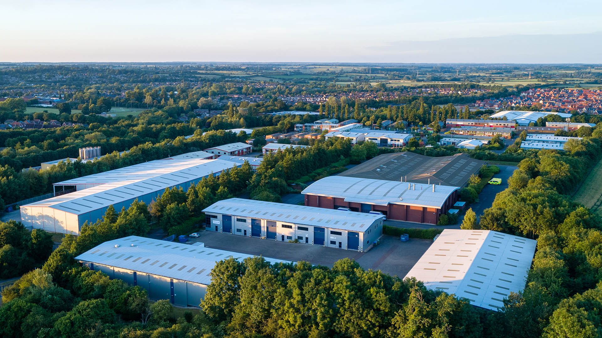Drone aerial photo of Buckingham industrial estate