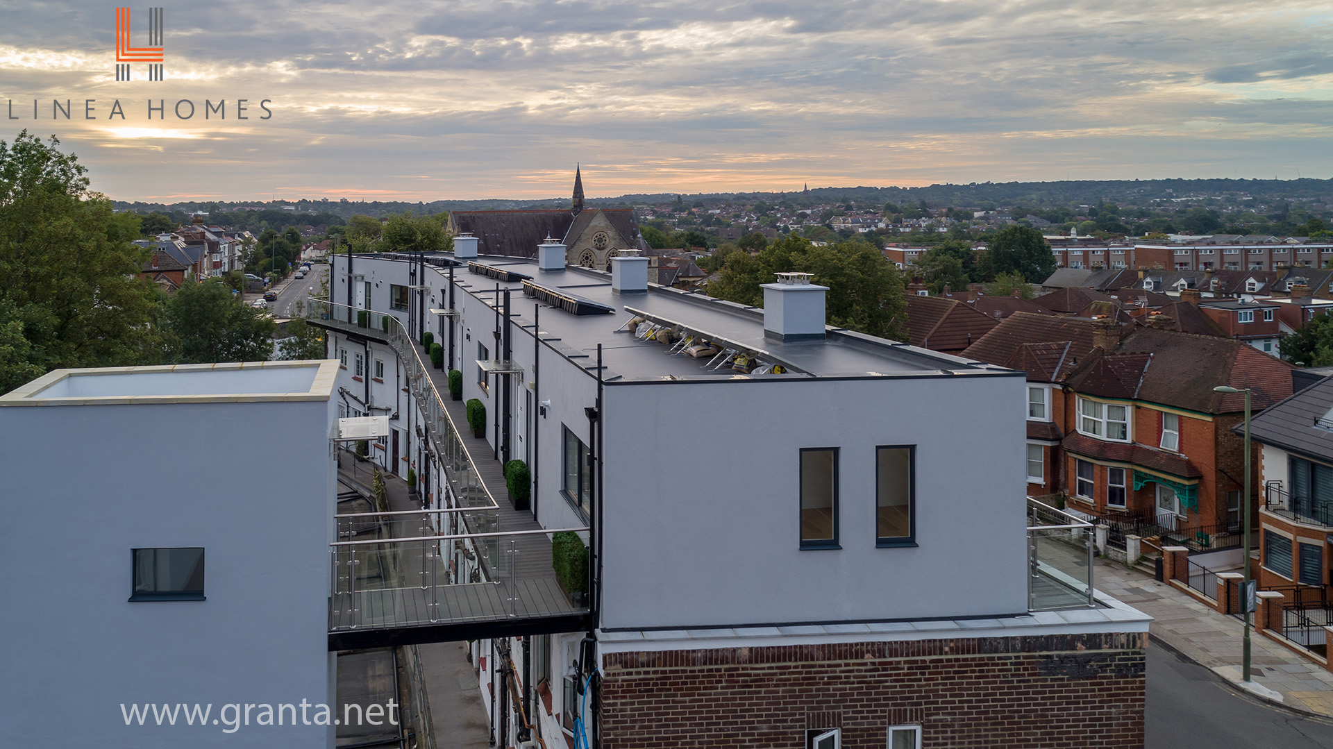 Aerial shot of a property development in Hendon