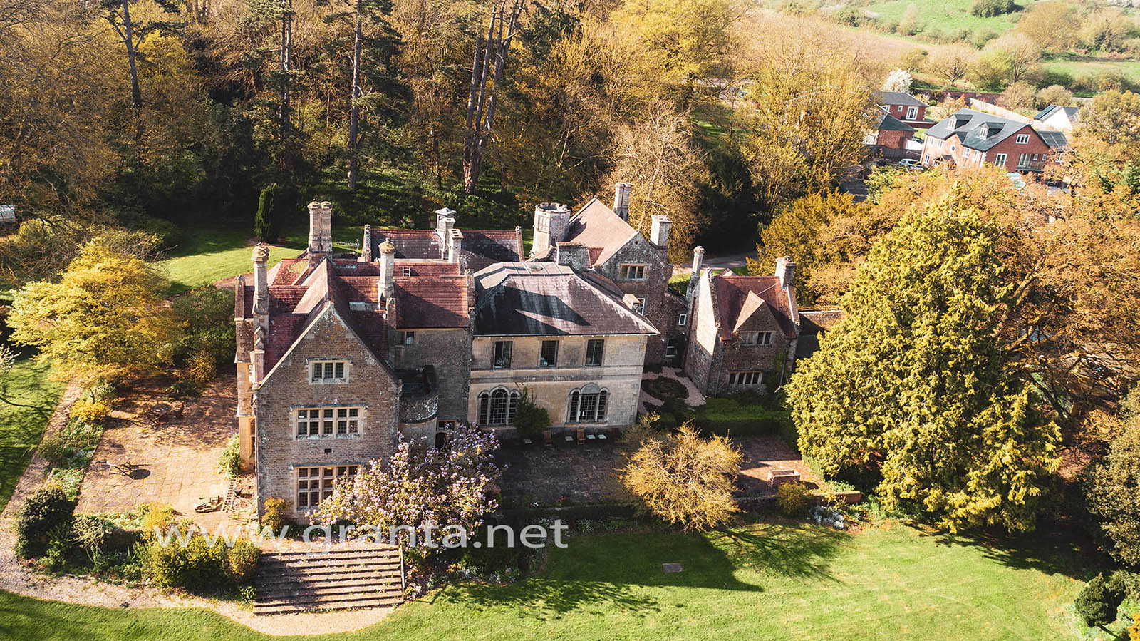 Aerial photo of Cleeve House, near Seend in Wiltshire