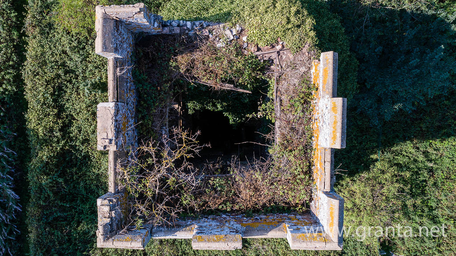 Derelict church tower, seen from above