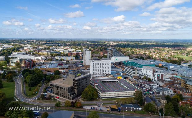 Aerial drone shot of central Bracknell inc the Lexicon centre