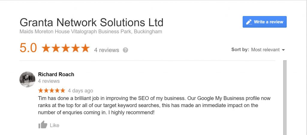 Local SEO review left by a Granta Network Solutions customer