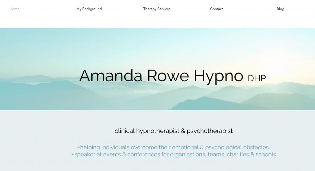 Amanda Rowe Hypno website screenshot